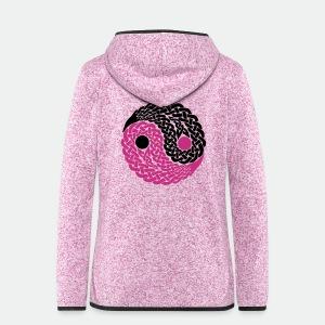Woman's Zipper Celtic Yin Yang black and pink - Women's Hooded Fleece Jacket