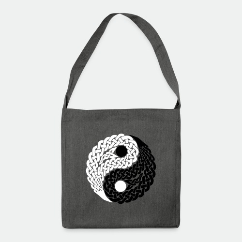 Bag Celtic Yin Yang black and white flock - Shoulder Bag made from recycled material