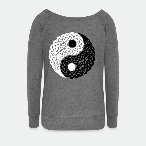 Woman's Sweater Celtic Yin Yang black and white flock - Women's Boat Neck Long Sleeve Top