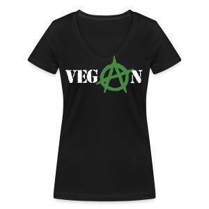 Vegan Anarchy t-shirt cotone biologico - T-shirt ecologica da donna con scollo a V di Stanley & Stella