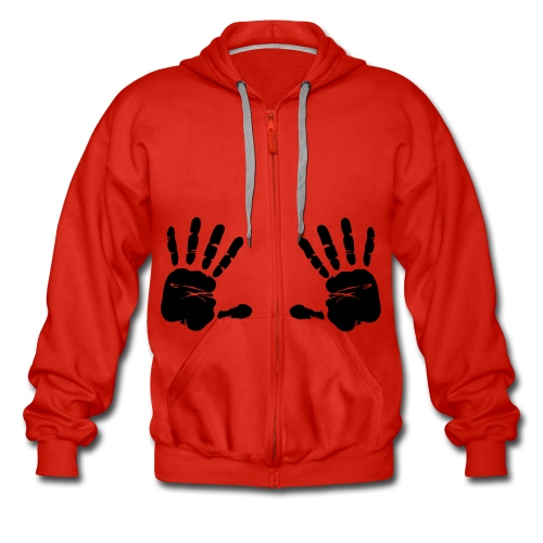 Red Mens Hooded Jacket. Hand Print. - Men's Premium Hooded Jacket