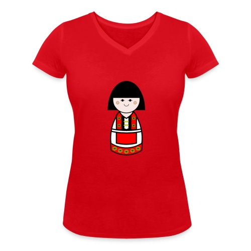Womens Danish Doll Vneck - Women's Organic V-Neck T-Shirt by Stanley & Stella