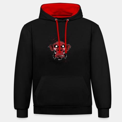 Monkey Hoodie - Red - Kontrast-Hoodie
