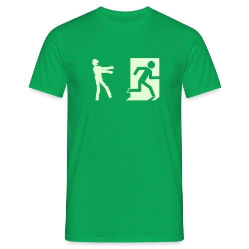 Leuchtet im Dunkeln - Zombie Invasion Notausgang - Männer T-Shirt