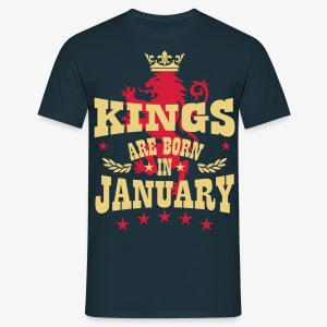 Kings are born in January King Crown Lion Hero T-S - Männer T-Shirt