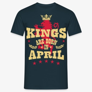 Kings are born in April King Crown Lion Löwe T-Shirt - Männer T-Shirt