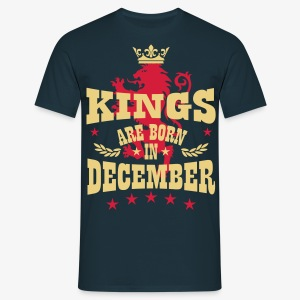 Kings are born in December King Crown Lion Löwe T - Männer T-Shirt