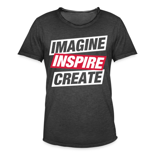 Imagine Inspire Create, Men, Grey - Herre vintage T-shirt