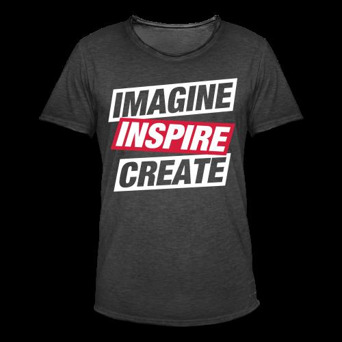 Imagine Inspire Create, Men, Grey - Herre vintage T-shirt