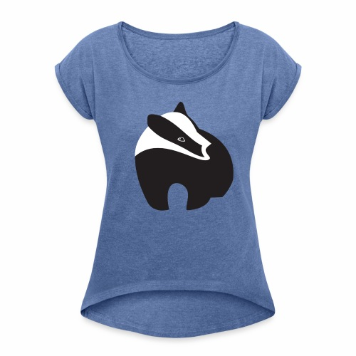Dames-T-shirt 'Logo das' - Vrouwen T-shirt met opgerolde mouwen