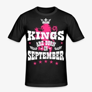 Kings are born in September King Crown Lion Löwe T-Shirt - Männer Slim Fit T-Shirt