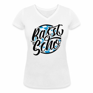 Basst Scho (Bavarian) Women's V-Neck T-Shirt - Women's Organic V-Neck T-Shirt by Stanley & Stella