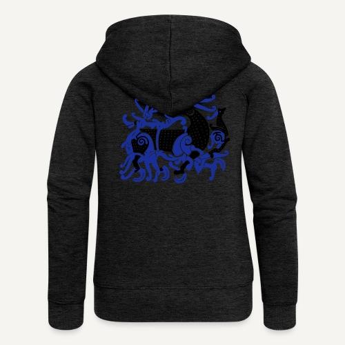 Motyw skandynawski (lew i smok) - Rozpinana bluza damska z kapturem Premium