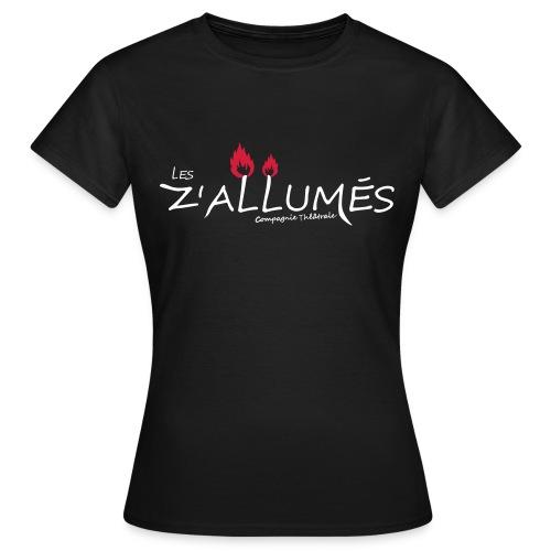 T-shirt Femme - Tshirt double flamme noir pour femmes Logo imprimé devant  2017 - Les Z'allumés de Rodemack Compagnie Théâtrale