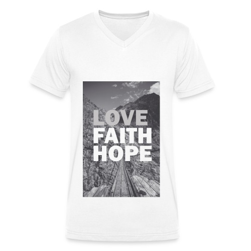 Love,Faith,Hope, V-Ausschnitt - Männer Bio-T-Shirt mit V-Ausschnitt von Stanley & Stella