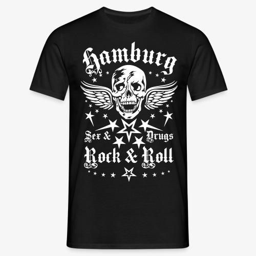 Hamburg Sex Drugs Rock & Roll Skull Männer T-Shirt schwarz - Männer T-Shirt