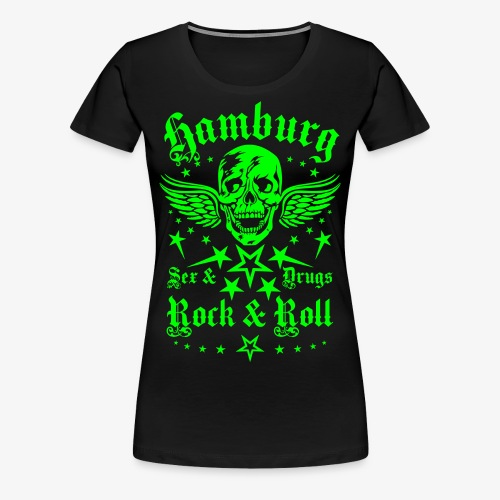 Hamburg Sex Drugs Rock & Roll Skull Frauen T-Shirt schwarz - Frauen Premium T-Shirt