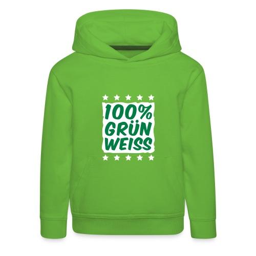 Kinder Kapuzen-Pullover 100% Grün-Weiß - Kinder Premium Hoodie