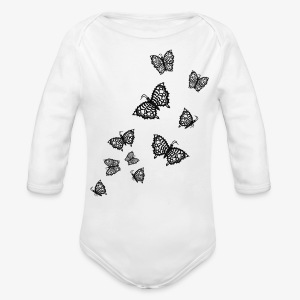 Schwarze Schmetterlinge Baby Body weiss - Baby Bio-Langarm-Body