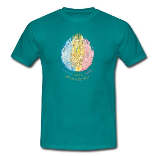 Männer T-Shirt - die dreifältige Flamme deines Herzens und die Blume des Lebens möge dich an dein Heil erinnern!