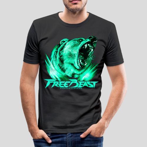 VINRECH CLOTHING - FREE BEAST - GRIZZLI CORAIL - T-Shirt noir sport homme - T-shirt près du corps Homme