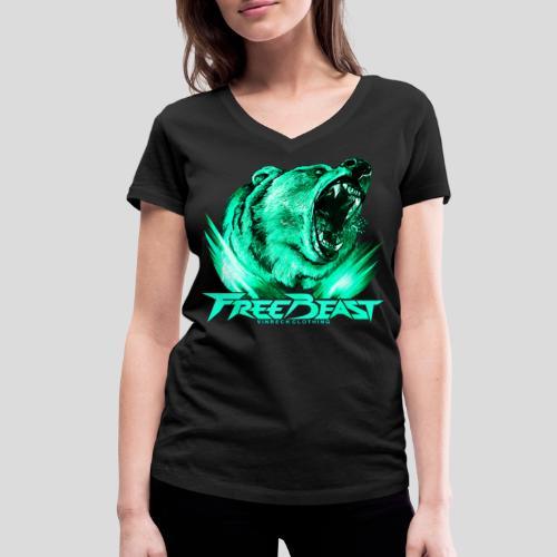 VINRECH CLOTHING - FREE BEAST - GRIZZLI CORAIL - T-Shirt noir sport femme - T-shirt bio col V Stanley & Stella Femme