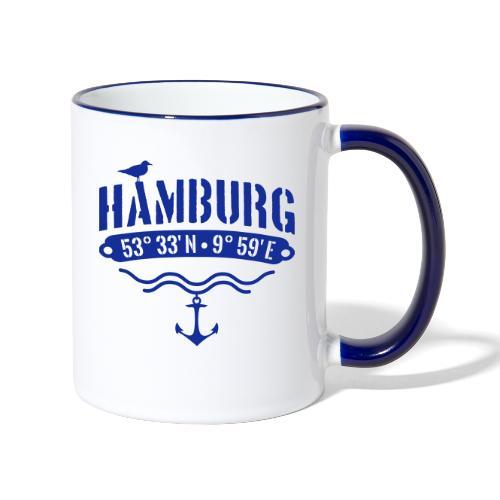 Hamburg Koordinaten - Tasse zweifarbig