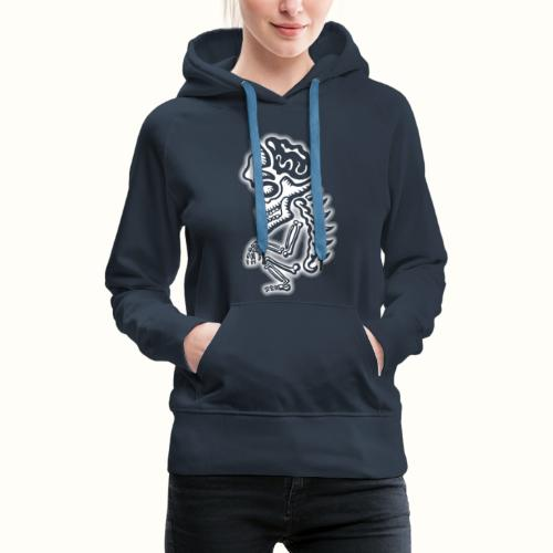 Squatting Skeleton wit VLA 50 - Vrouwen Premium hoodie