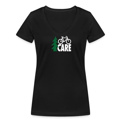 I CARE WMS Bike V-Ausschnitt black/green/white - Frauen Bio-T-Shirt mit V-Ausschnitt von Stanley & Stella