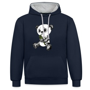 Panda Bär scribblesirii farbig - Felpa con cappuccio bicromatica