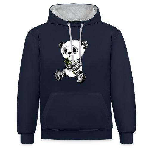 Panda Bär scribblesirii farbig - Kontrast-Hoodie