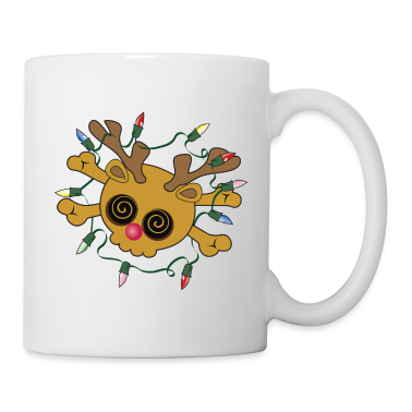 White Silly Reindeer Skull Mugs