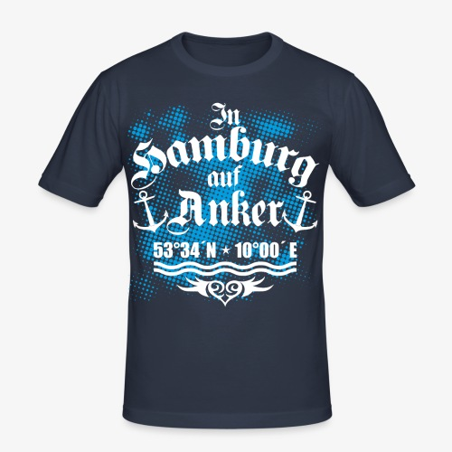 In HAMBURG auf Anker Koordinaten Männer T-Shirt - Männer Slim Fit T-Shirt