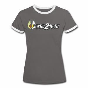 T-shirt Femme gris blanc grand logo avant - T-shirt contrasté Femme