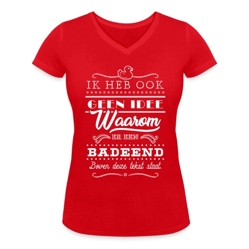 Badeend vrouwen v-hals bio - Vrouwen bio T-shirt met V-hals van Stanley & Stella