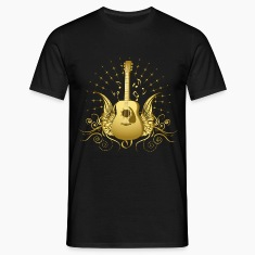 Black Winged Folk Guitar Men's T-Shirts