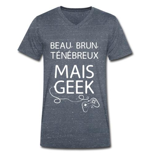 "T-shirt Homme ""Beau, brun, ténébreux"" - T-shirt bio col V Stanley & Stella Homme"