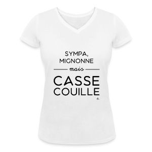 "T-shirt Femme ""Sympa, mignonne"" - T-shirt bio col V Stanley & Stella Femme"