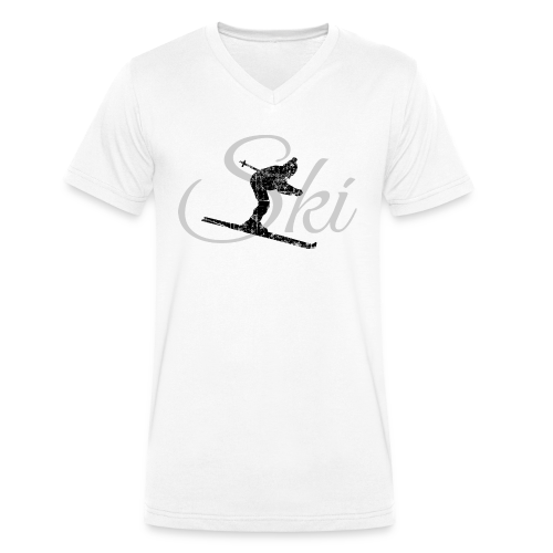Ski Skifahrer Bio T-Shirt (Schwarz/Grau) - Männer Bio-T-Shirt mit V-Ausschnitt von Stanley & Stella