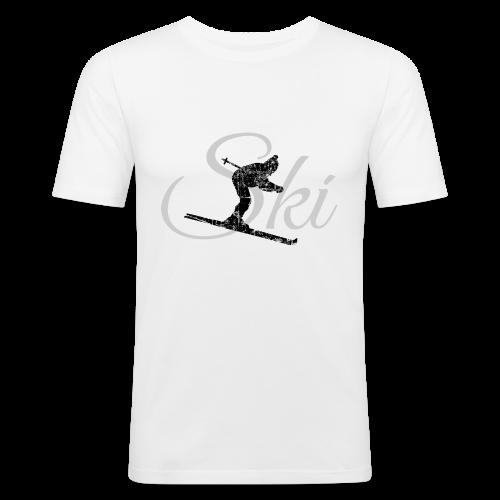 Ski Skifahrer T-Shirt (Schwarz/Grau) - Männer Slim Fit T-Shirt