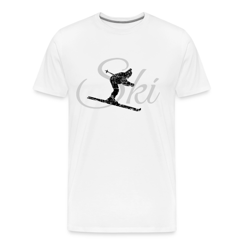 Ski Skifahrer T-Shirt (Schwarz/Grau) - Männer Premium T-Shirt