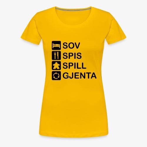 Sov, spis, spill, gjenta - Premium T-skjorte for kvinner