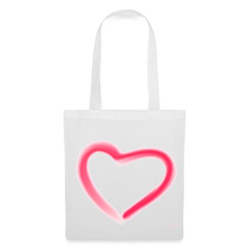 romantisches Herz - Tasche Weis/Rot - Stoffbeutel