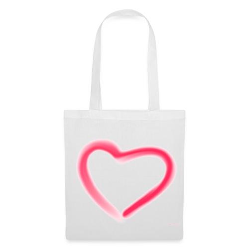romantisches Doppel-Herz - Tasche Weis/Rot - Stoffbeutel