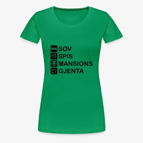 Sov, spis, Mansions, gjenta - Premium T-skjorte for kvinner