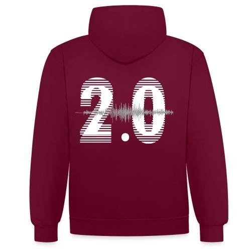 Heren Hoodie logo voor&achter / verwarmende contrastkleur in capuchon (bv steenkoolgrijs) - Contrast hoodie