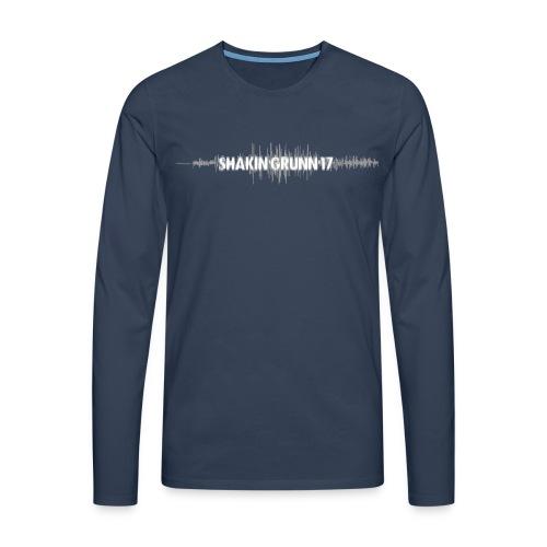 Heren shirt / logo voor & achter / in loodsblauw of houtskoolzwart - Mannen Premium shirt met lange mouwen