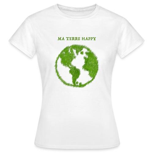 Tee shirt Femme coupe près du corps, Nuréa  : MA TERRE HAPPY  - T-shirt Femme