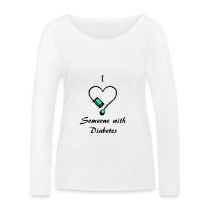 I Love Someone With Diabetes - Pump Design 1 - Blue/Green - Women's Organic Longsleeve Shirt by Stanley & Stella