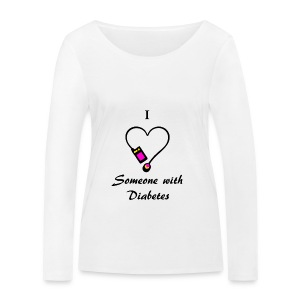 I Love Someone With Diabetes - Pump Design 2 - Pink/Orange - Women's Organic Longsleeve Shirt by Stanley & Stella